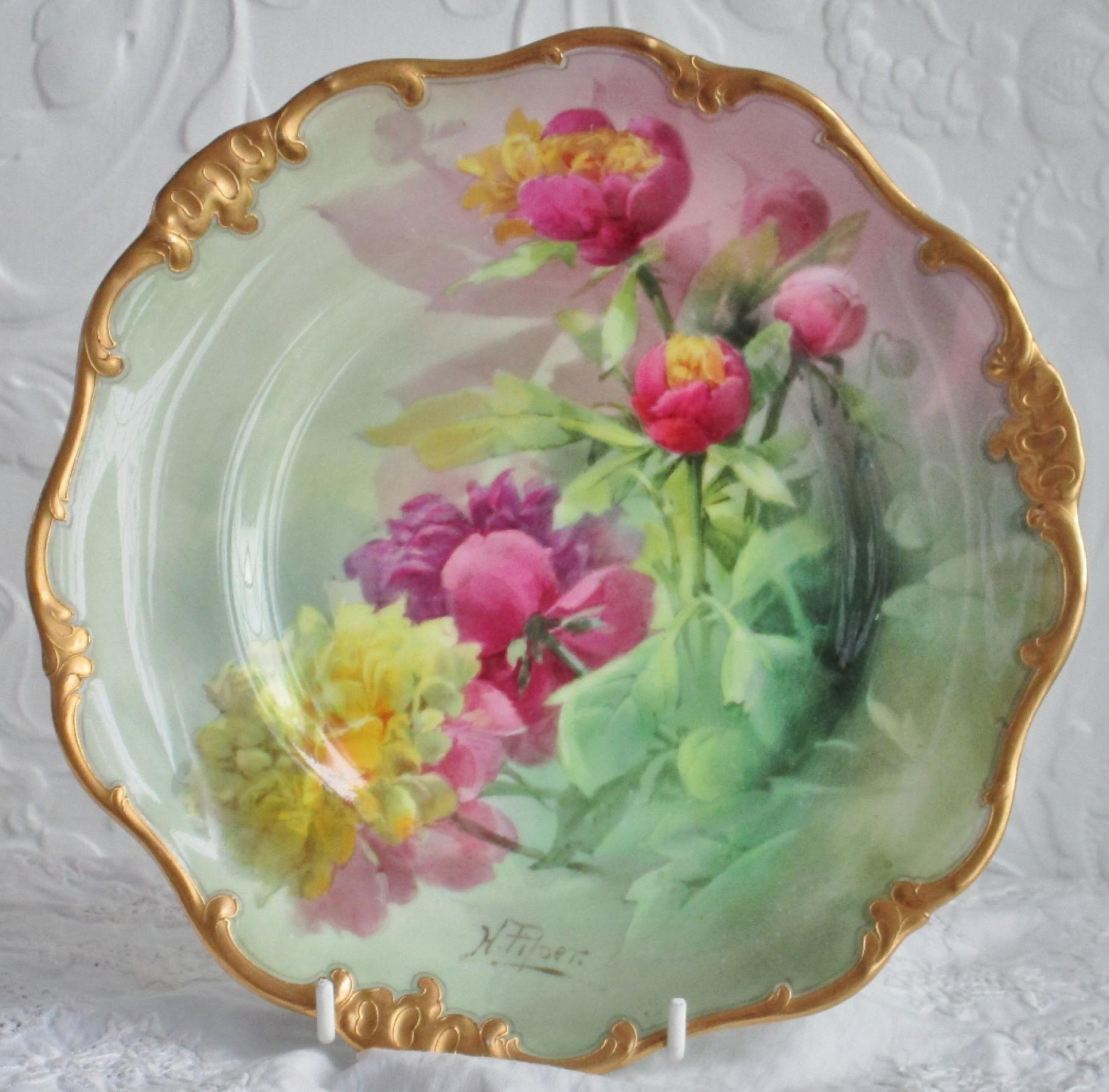 Click to view larger photo & Antique Royal Doulton Porcelain Cabinet Plate Peonies by Harry Piper ...