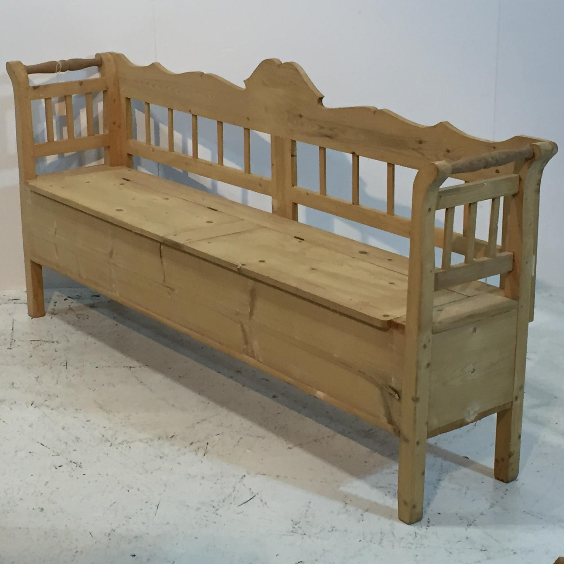 Antique Pine Bench With Storage Benches