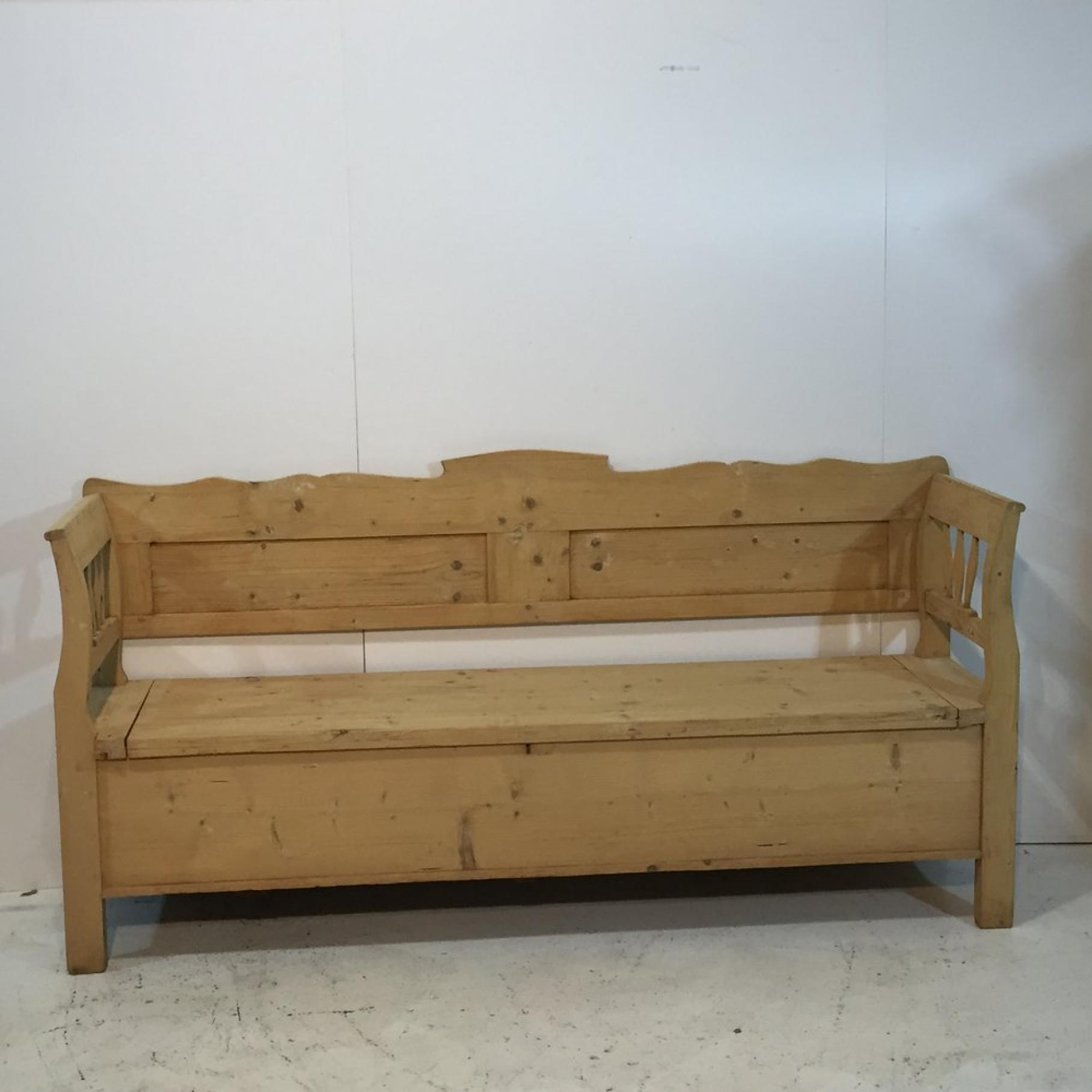 Large Old Pine Bench with Lift Up Storage Seat c1910 - Benches ...