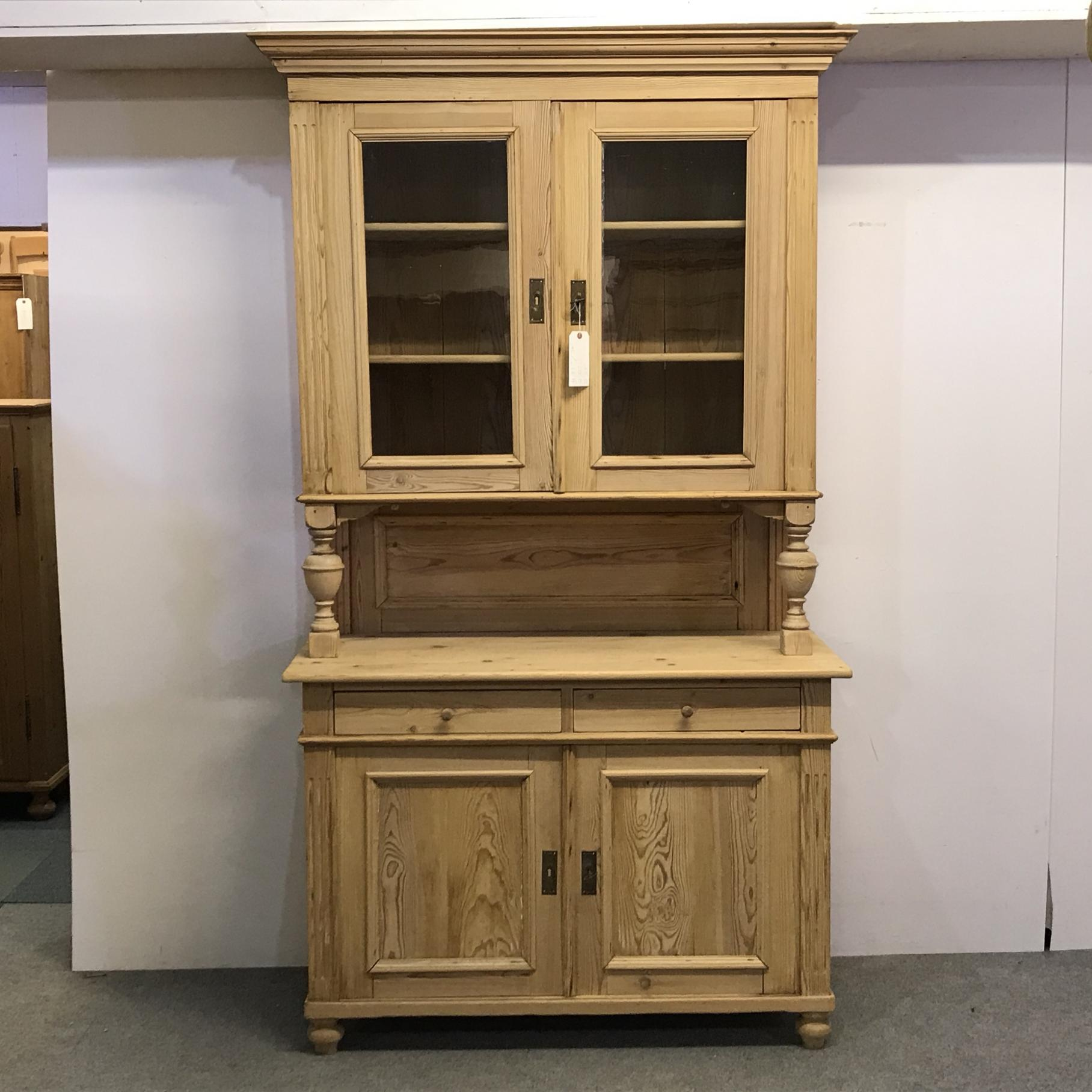 Picture of: Very Tall Antique Pine Dresser With Glazed Cabinet D7505d Dressers 1979 Anyantiques